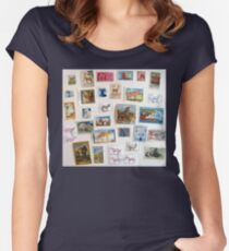 Postage Stamps Animals Women's Fitted Scoop T-Shirt