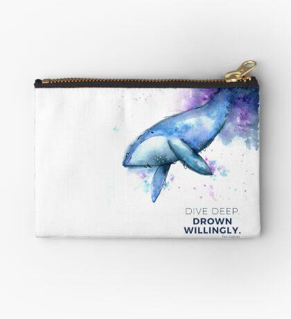 Dive Deep Quote Whale Watercolor Studio Pouch