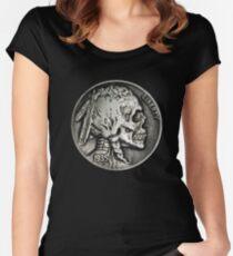 Indian Head Skull Nickel Women's Fitted Scoop T-Shirt