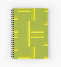Leaf Green and Lemon Yellow Geometric Pattern by Jessica Poundstone Spiral Notebook
