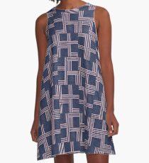 Navy Blue and Pink Geometric Pattern by Jessica Poundstone A-Line Dress