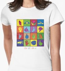 Hand Signs Rubik by DeLaFont Women's Fitted T-Shirt
