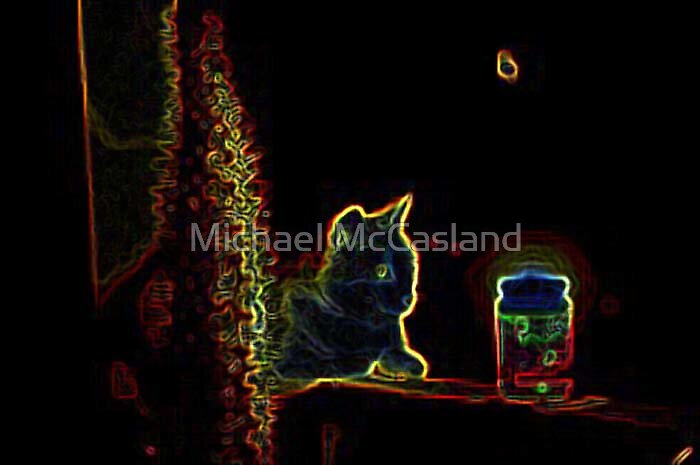 Neon Cat by Michael McCasland