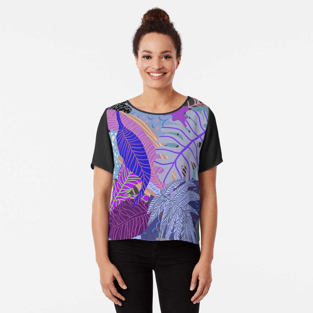 Ultraviolet Fade Nature Leaves Chiffon Top