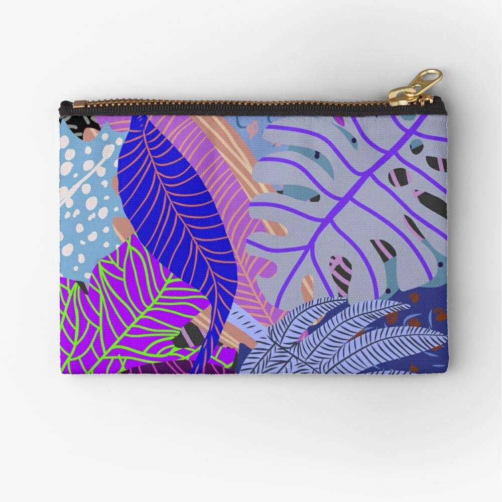 Ultraviolet Fade Nature Leaves Zipper Pouch