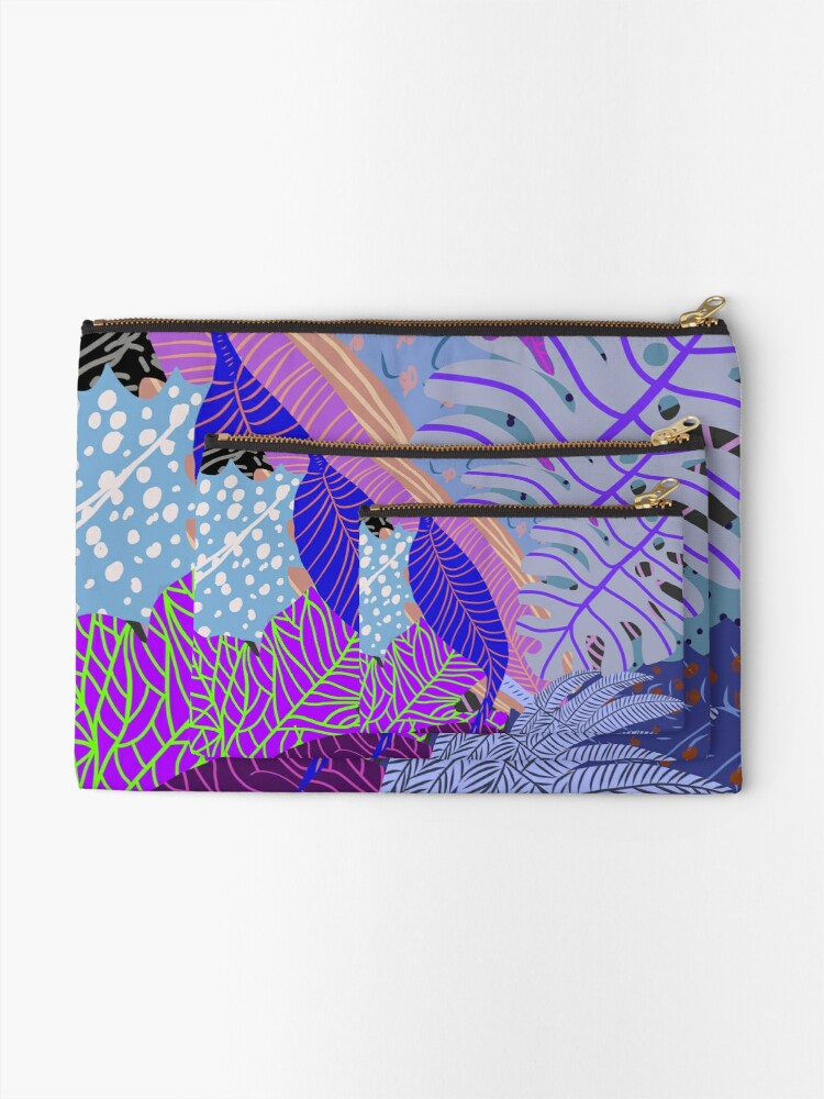 Alternate view of Ultraviolet Fade Nature Leaves Zipper Pouch