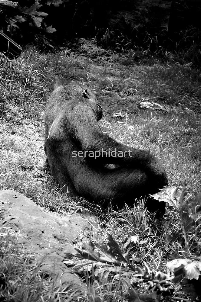 gorilla reclining by seraphidart