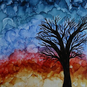 Alcohol Ink Sunset Tree on Wood by emederart