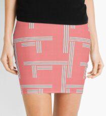 Bittersweet Pink and Aqua Geometric Pattern by Jessica Poundstone Mini Skirt