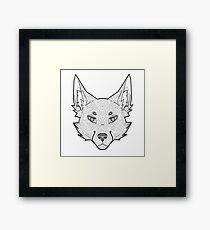 Tribal geometric furry fox Framed Print