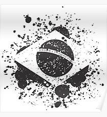 Grunge Brazilian Flag Poster