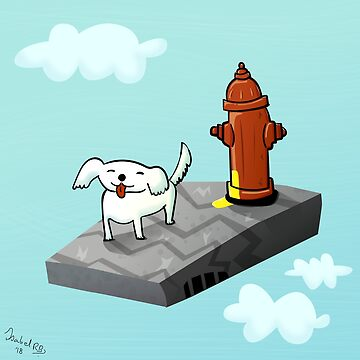 Dog in the sky peeing - Illustration by isabelrb