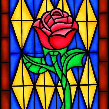 Eine einzelne Rose im Buntglas-Fenster von storybeth