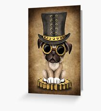 Cute Steampunk Pug Puppy Dog Greeting Card