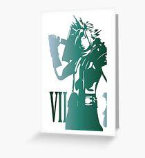 Cloud Strife FFVII Dissidia Logo color graphic Greeting Card