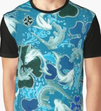 Black, Blue, light blue, pattern, sharks, crocodiles Graphic T-Shirt