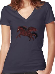 Thestral #Red Women's Fitted V-Neck T-Shirt