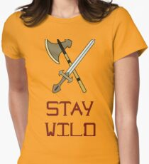 Bright vector illustration of the Scandinavian life. Fighting tools of Vikings. Stay wild. Women's Fitted T-Shirt