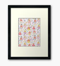 Russian dolls, swallows and  flowers watercolor patterns  Framed Print
