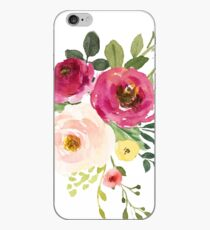 Rosa Burgunder Blumen Aquarell Bouquet iPhone-Hülle & Cover
