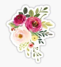 Pink Burgundy Floral Watercolor Bouquet Sticker