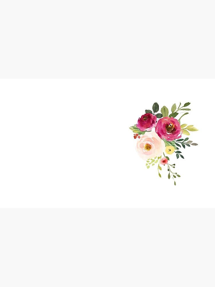 Rosa Burgunder Blumen Aquarell Bouquet von junkydotcom