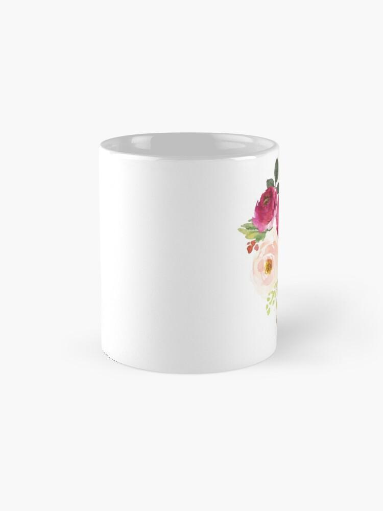 Alternative Ansicht von Rosa Burgunder Blumen Aquarell Bouquet Tassen
