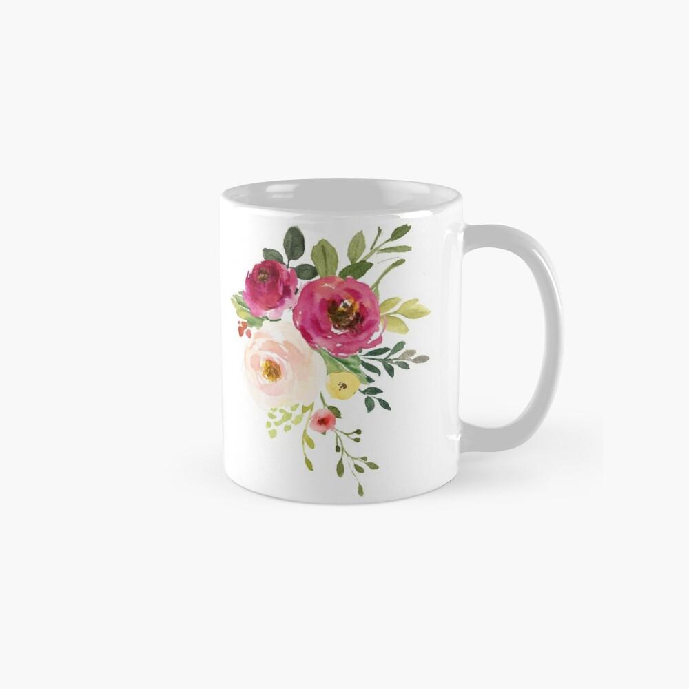Rosa Burgunder Blumen Aquarell Bouquet Tassen