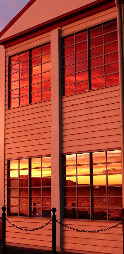 sunset reflections in windows at Stanley by Gaylene Norton