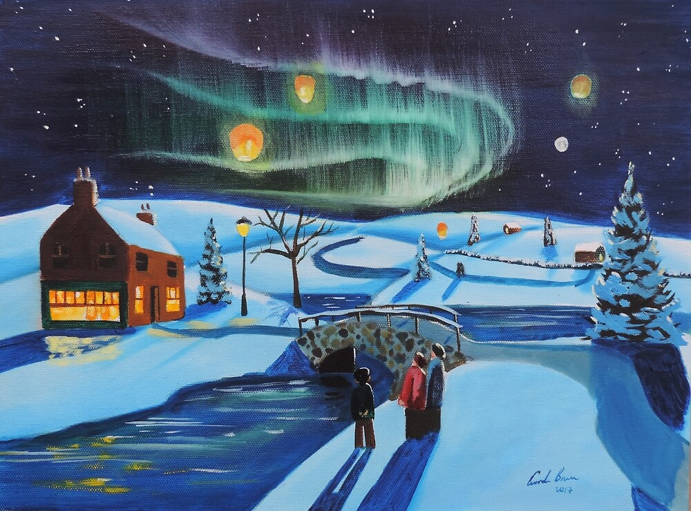 Winter Chinese lanterns northern lights by GORDON BRUCE ART