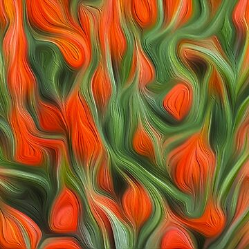Orange tulips abstract. Oil paint effect by stuwdamdorp