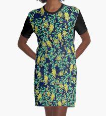 Golden Wattle - Navy Graphic T-Shirt Dress