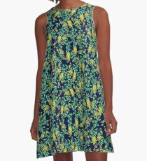 Golden Wattle - Navy A-Line Dress