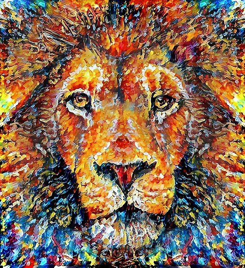 colorful lion painting v4 posters by erisian redbubble