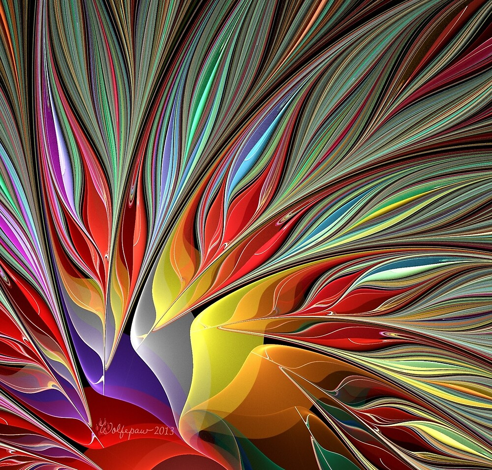 Fractal Bird of Paradise Redux by wolfepaw