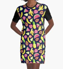 Tropical Punch - Navy Graphic T-Shirt Dress