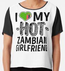 Ich liebe meine heiße sambische Freundin - niedliches Sambia verbindet romantische Liebes-T-Shirts u. Aufkleber Chiffontop