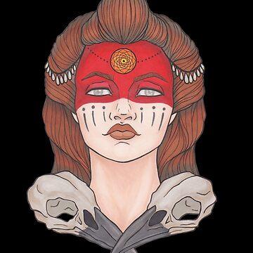 Warrior / Indian girl / crow skulls. by Galbrin