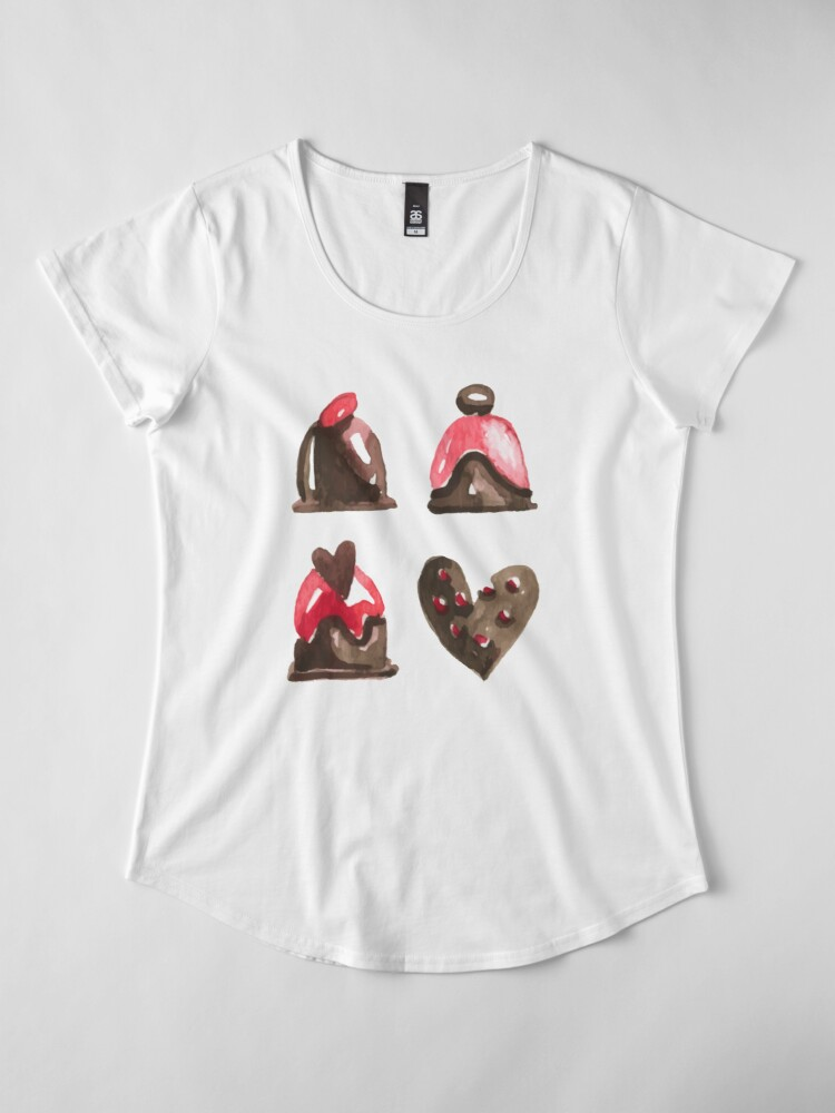 Alternate view of Valentines Day Chocolates Tshirt and more Premium Scoop T-Shirt