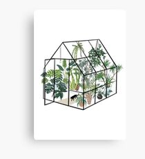 greenhouse with plants Canvas Print
