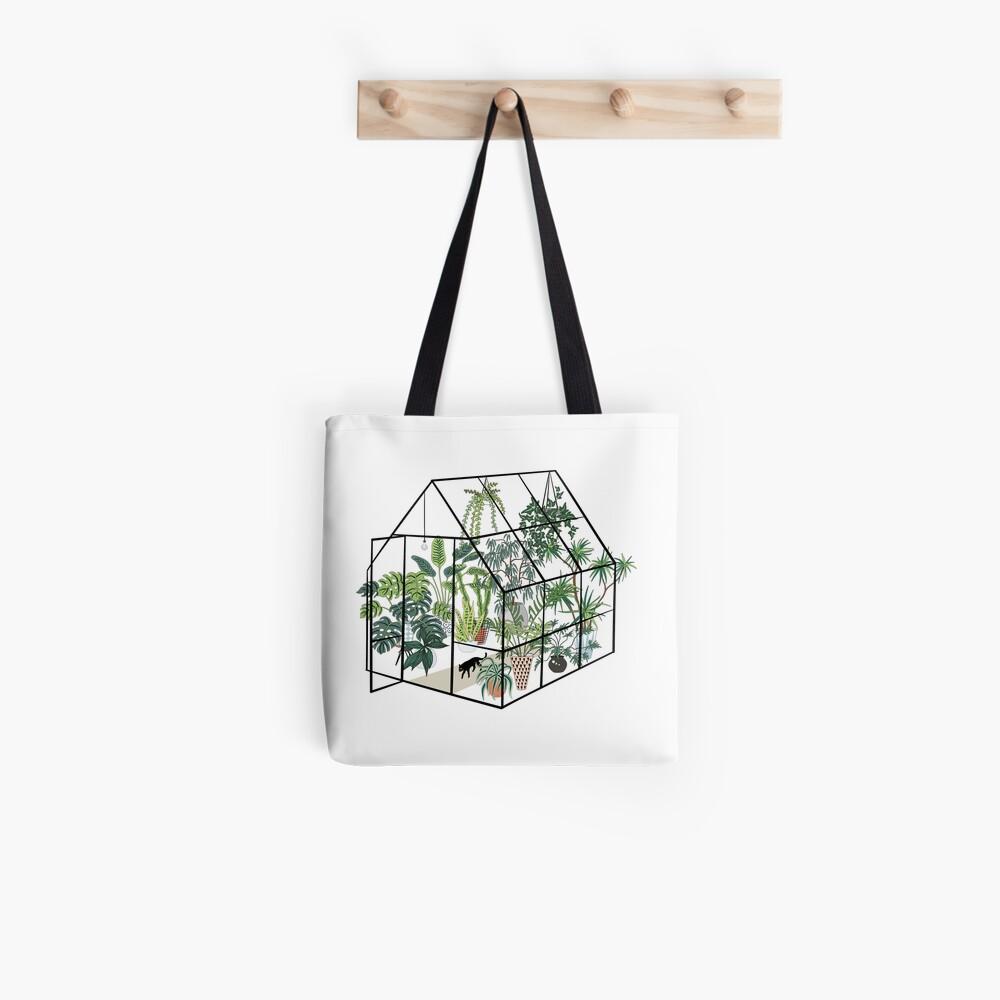 Gewächshaus mit Pflanzen Tote Bag