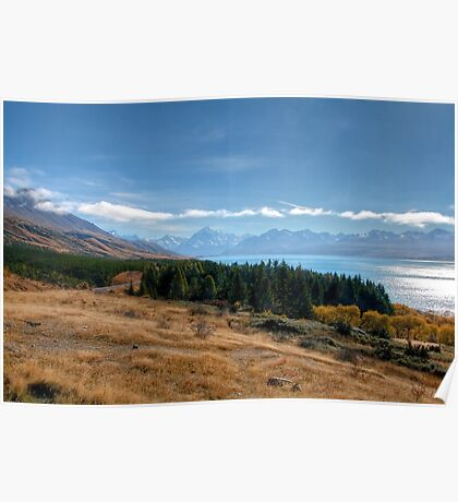 Lake Pukaki and Mount Cook from Peters Lookout Poster