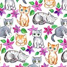 Kittens and Clematis - white by micklyn