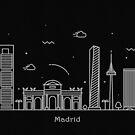 Madrid Skyline Minimal Line Art Poster by A Deniz Akerman