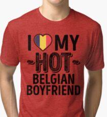 1296e5e2b I Love My HOT Belgian Boyfriend - Cute Belgium Couples Romantic Love T- Shirts