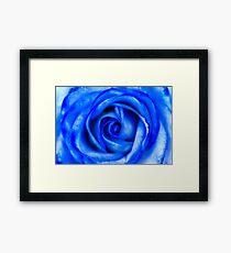 Abstract Macro Blue Rose Framed Print