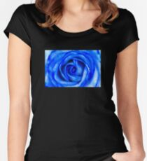 Abstract Macro Blue Rose Women's Fitted Scoop T-Shirt