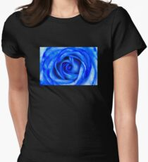Abstract Macro Blue Rose Womens Fitted T-Shirt