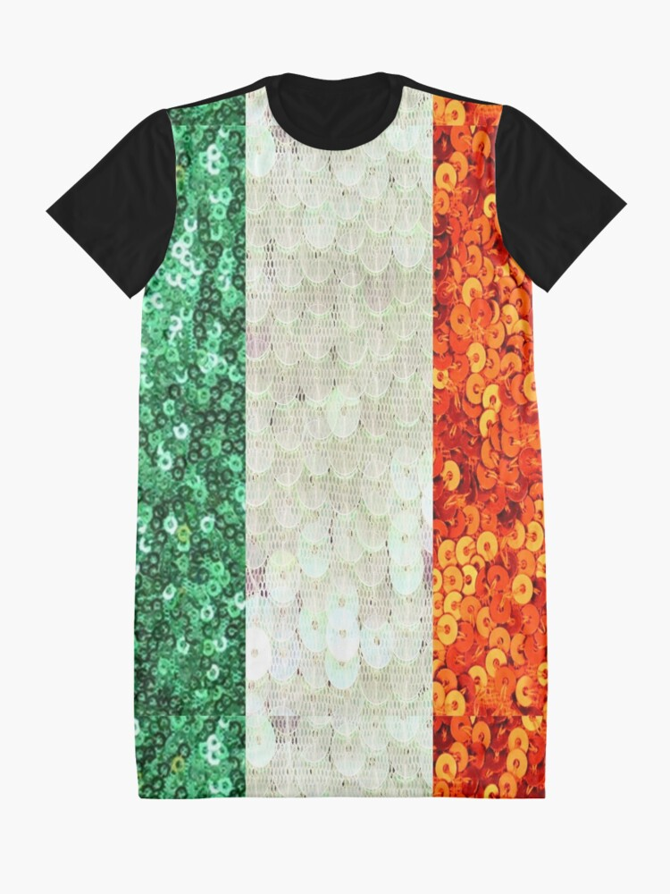 Alternate view of Irish,  Tri Color Flag,  Ireland,  Sequin,  Glitter,  Look,   Green White Orange Graphic T-Shirt Dress