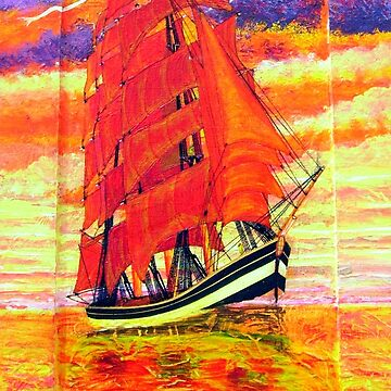 An Acrylic painting of a Clipper Ship Wearing Red Sails 1843 by ZipaC
